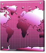 World Map In Pink Acrylic Print