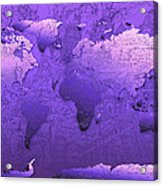 World Map In Purple Acrylic Print