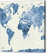 World Map In Watercolor Blue Acrylic Print