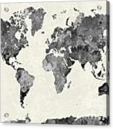 World Map In Watercolor Gray Acrylic Print
