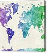 World Map In Watercolor Multicolored Acrylic Print