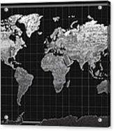 World Map Landmark Black Acrylic Print