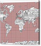 World Map Landmark Collage 2 Acrylic Print