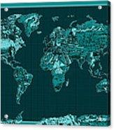 World Map Landmark Collage 4 Acrylic Print