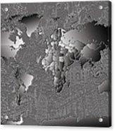 World Map Landmark Collage 6 Acrylic Print