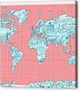 World Map Landmark Collage Acrylic Print