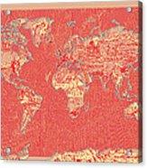 World Map Landmark Collage Red Acrylic Print