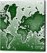 World Map Novo In Green Acrylic Print
