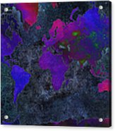 World Map - Purple Flip The Dark Night - Abstract - Digital Painting 2 Acrylic Print by Andee Design