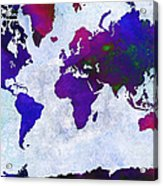 World Map - Purple Flip The Light Of Day - Abstract - Digital Painting 2 Acrylic Print by Andee Design
