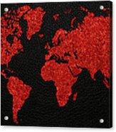 World Map Red Fabric On Dark Leather Acrylic Print