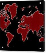 World Map Red Grid Acrylic Print
