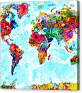 World Map Spattered Paint Acrylic Print