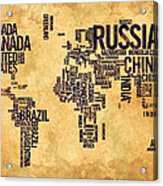 World Map Typography 6 Watercolor Painting Acrylic Print
