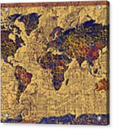 World Map Vintage Acrylic Print