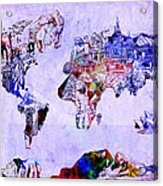 World Map Watercolor 2 Acrylic Print
