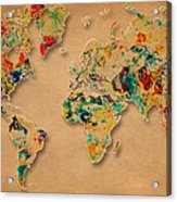 World Map Watercolor Painting 2 Acrylic Print
