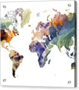 World Map Watercolor Painting Acrylic Print