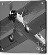 Stearman Trainer Bi Plane Black And White Acrylic Print