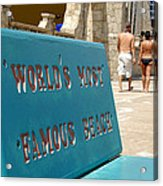 Worlds Most Famous Beach Bench Acrylic Print
