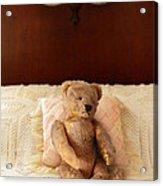 Worn Teddy Bear On Bed Acrylic Print