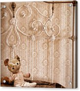 Worn Teddy Bear On Brass Bed Acrylic Print