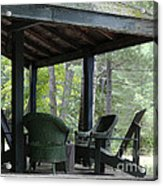 Worn Wicker Chairs On Old Veranda Acrylic Print