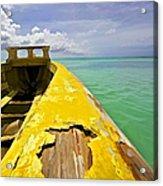 Worn Yellow Fishing Boat Of Aruba Acrylic Print