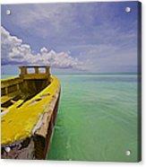 Worn Yellow Fishing Boat Of Aruba II Acrylic Print