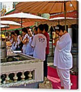 Worshippers In Front Of The Royal Temple  At Grand Palace Of Tha Acrylic Print