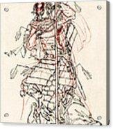 Wounded Samurai Drinking Sake C. 1870 Acrylic Print