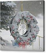 Wreath In A Snow Storm Acrylic Print