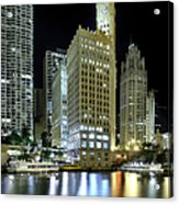 Wrigley Building At Night  Acrylic Print
