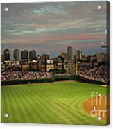 Wrigley Field At Dusk Acrylic Print by John Gaffen
