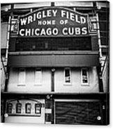 Wrigley Field Chicago Cubs Sign In Black And White Acrylic Print