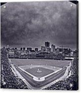 Wrigley Field Night Game Chicago Bw Acrylic Print