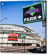 Wrigleyville Sign And Wrigley Field In Chicago Acrylic Print by Paul Velgos