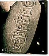 writing on the Tibetan language and Sanskrit at stone Acrylic Print