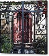Wrought Iron Gate And Red Door Charleston South Carolina Acrylic Print