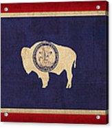 Wyoming State Flag Art On Worn Canvas Acrylic Print