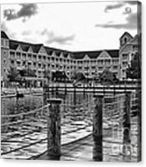 Yacht And Beach Club After The Rain In Black And White Walt Disney World Acrylic Print