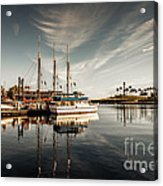 Yacht At The Pier On A Sunny Day Acrylic Print