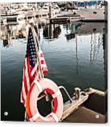 Yacht With American Flag At The Pier  Acrylic Print