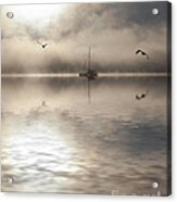 Yacht with two gulls in mist Acrylic Print