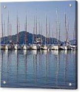Yachts Docked In The Harbor Gocek Acrylic Print by Christine Giles