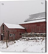 Yankee Farmlands No 19 - Winter Snow And New England Barn Acrylic Print