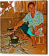 Yao Mien Tribe Man In His Home With His Cooking Pot North Of Chiang Rai In Mae Salong-thailand  Acrylic Print