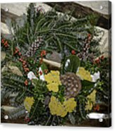 Yarrow And Lotus Wreath Squared Acrylic Print
