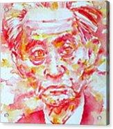 Yasunari Kawabata Watercolor Portrait Acrylic Print