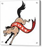 Year Of Horse 2014 Jumping Cartoon Acrylic Print by Aloysius Patrimonio